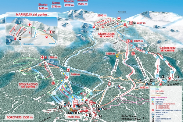 45 kilometers various in difficulty and length ski pistes